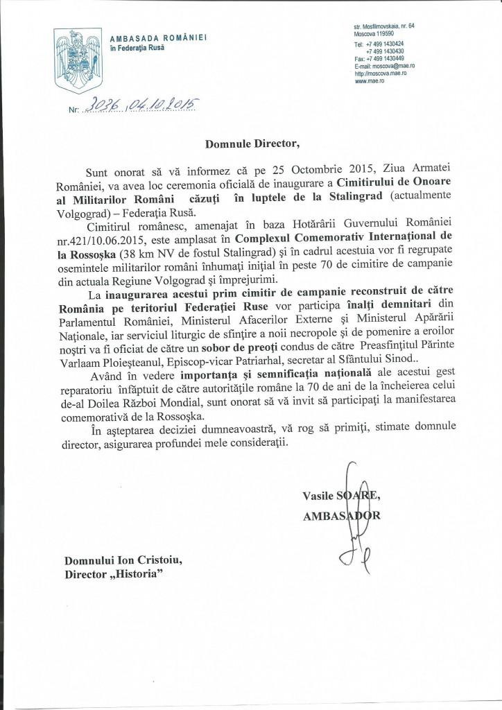 Scrisoare invitatie dl. director Ion Cristoiu scan