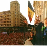 Cu Regele Mihai în Balconul Hotelului Continental, București, 25 aprilie 1992