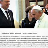Papa Francisc și Klaus Iohannis traducând împreună mesaje primite de la zeii din Bruxelles