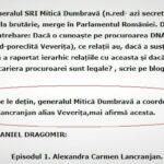 """Daniel Dragomir """"Din datele pe care le dețin generalul Mitică Dumbravă a coordonat'o de ani buni pe procuroarea Lăncrănjan"""" sursa text Flux24"""