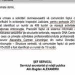 Din 499 de lucrări ale Inspecției Judiciare la DNA un număr de 15 implică pe procurorul Carmen Lăncrănjan