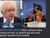 Premierul britanic BoJo vorbește de protestele pașnice BLM deturnate spre violență de extremiști