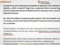 """La Radio """"Europa Liberă"""" papa Francisc își """"expiră indignarea"""" asupra muzeului Sf Sofia Ceea ce este cumva îngrijorător"""