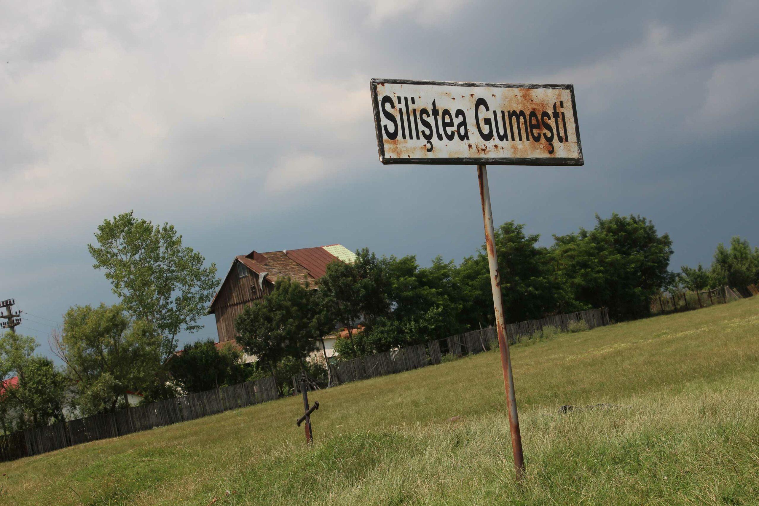 Intrarea-în-Siliștea-Gumești.-În-spate,-moara-lui-Aristide.-De-aici-ar-trebui-să-înceapă-un-traseu-turistic-pe-la-toate-obiectivele-citite-și-citate-în-scrierile-lui-Preda.