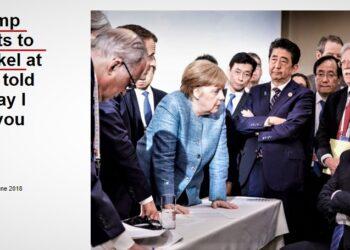 Trump aruncă bomboane la Merkel