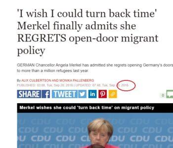 """În 2016 Merkel zice că """"regretă"""""""