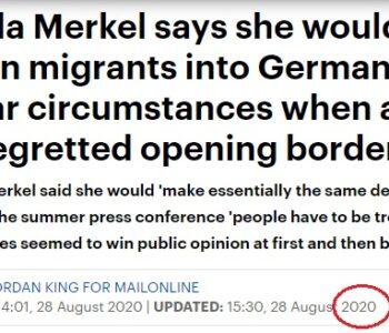 În 2020 Tătucul Merkel uită ce a zis în 2016 și afirmă că ar mai lua 1 milion de migranți ilegali în UE