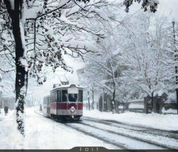 tramvai in București iarna