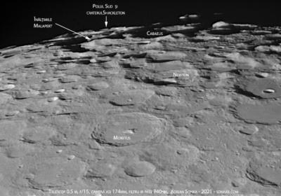 Polul Sud al Lunii în seara de 24 aprilie 2021. Imagine prin telescop de 0.5 m în diametru