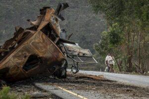 Camion distrus în regiunea Tigray