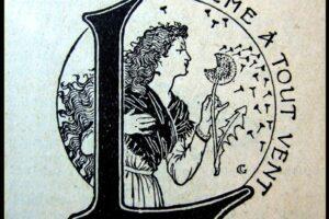 Logotype de la Semeuse soufflant sur une fleur de pissenlit, dessiné par Eugène Grasset en 1890