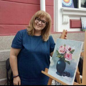 cb 2 portret 2 cu tablou trandafiri